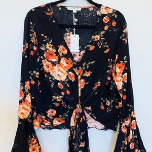 Grade & Gather floral tie front bell sleeve top
